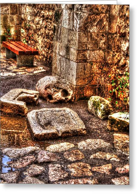 Old Western Photos Mixed Media Greeting Cards - Stones That Dont Lie - Israel Greeting Card by Michael Braham