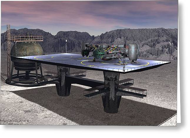Lunar Base Greeting Cards - XK-119 on LZ Greeting Card by Michael Wimer