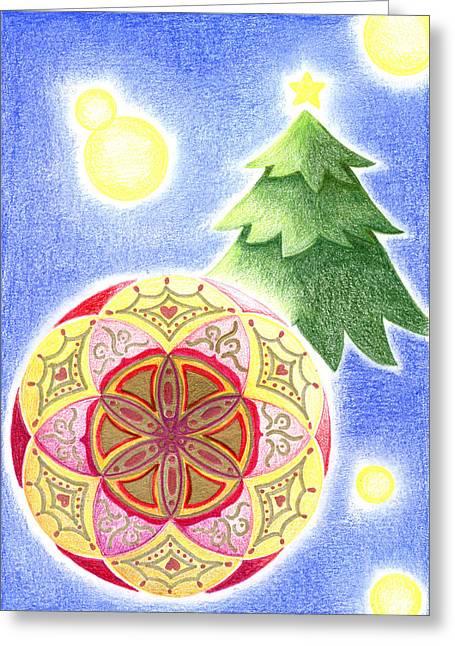 Ma.. Drawings Greeting Cards - Xmas Ornament Greeting Card by Keiko Katsuta