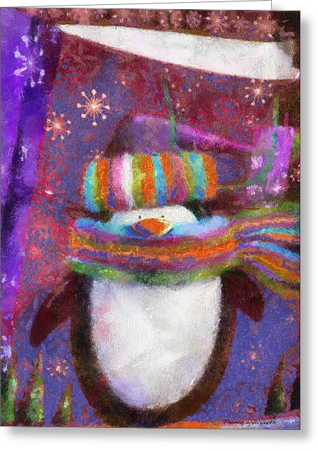 Wildlife Celebration Greeting Cards - Xmas Penguin 01 Photo Art Greeting Card by Thomas Woolworth