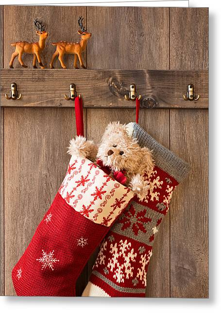 Furry Coat Greeting Cards - Xmas Stockings Greeting Card by Amanda And Christopher Elwell