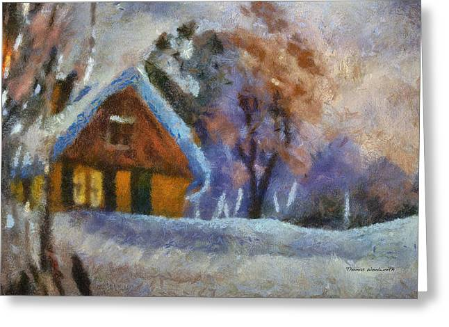 Log Cabin Photographs Digital Greeting Cards - Xmas Winter Cottage 02 Photo Art Greeting Card by Thomas Woolworth