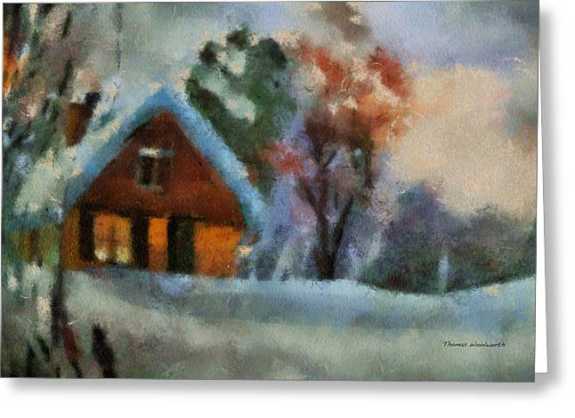 Log Cabin Photographs Digital Greeting Cards - Xmas Winter Cottage 03 Photo Art Greeting Card by Thomas Woolworth