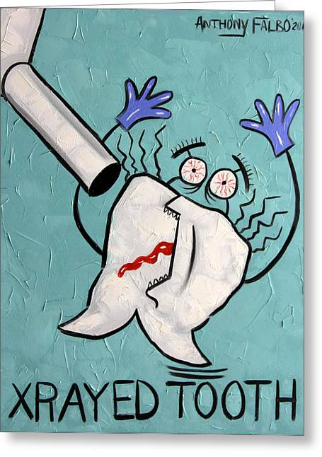 Metal Art Greeting Cards - Xrayed Tooth Greeting Card by Anthony Falbo