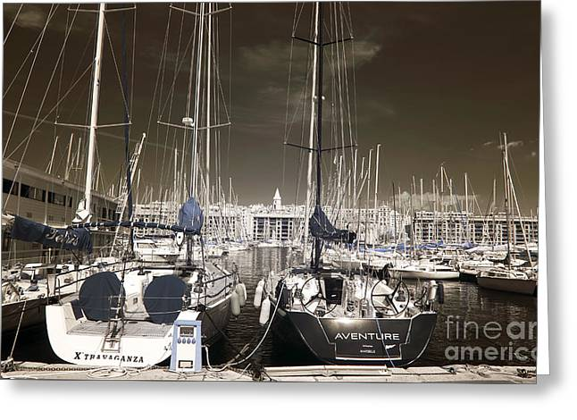 Sailboats Docked Greeting Cards - Xtravaganza and Aventure Greeting Card by John Rizzuto