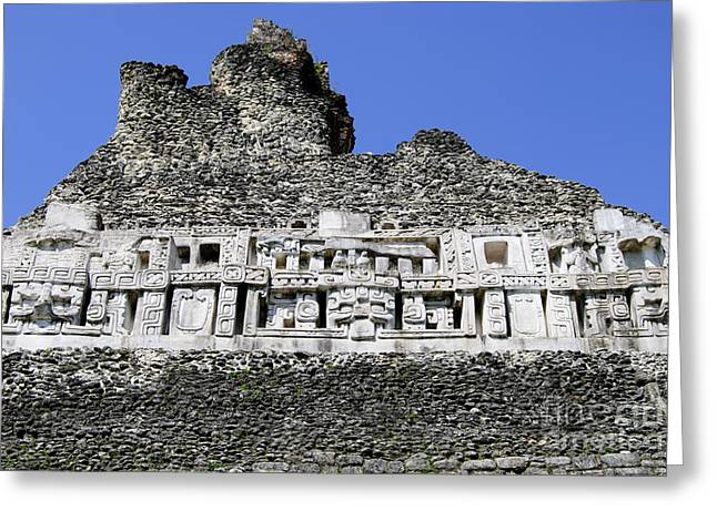 Historic Site Pyrography Greeting Cards - Xunantunich Greeting Card by Yoshiko Wootten