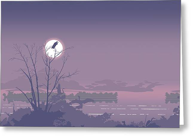 Abstract Florida Everglades Tropical Birds Sunset Landscape - Large Pop Art Nouveau - Panorama - 2 Greeting Card by Walt Curlee