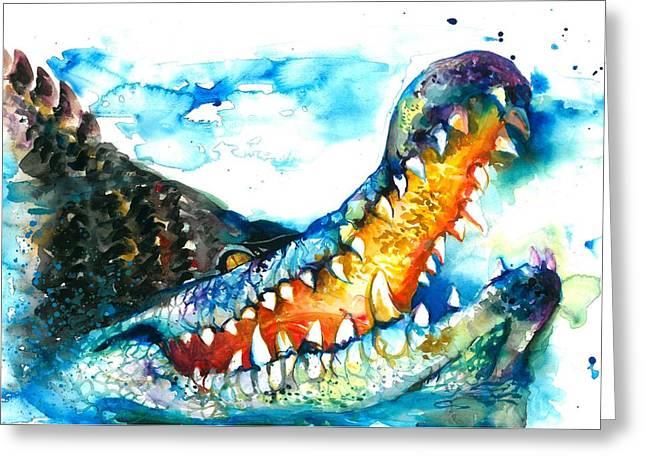 Blau Greeting Cards - XXL Format Crocodile Watercolor Greeting Card by Tiberiu Soos