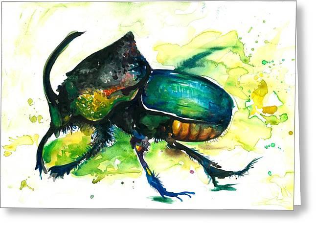 Scarab Greeting Cards - XXL Format Scarab Rainbow Rhinoceros Beetle - Insect Art Greeting Card by Tiberiu Soos