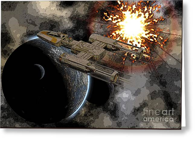 Y Wing Greeting Cards - Y-Wing Starfighter Greeting Card by Colin Hunt