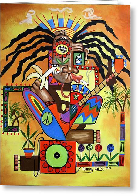 Dreads Greeting Cards - Ya Mon 2 No Steal Drums Greeting Card by Anthony Falbo