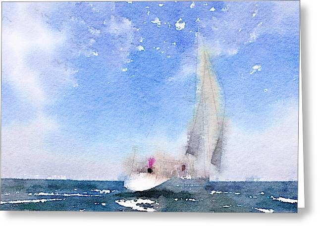 Stadium Design Digital Greeting Cards - Yacht 2 Greeting Card by Yury Malkov