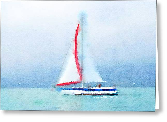 Stadium Design Digital Greeting Cards - Yacht 4 Greeting Card by Yury Malkov