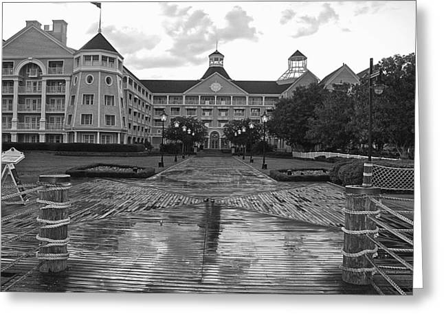 Town Square Greeting Cards - Yacht and beach club in Black and White Walt Disney World Greeting Card by Thomas Woolworth