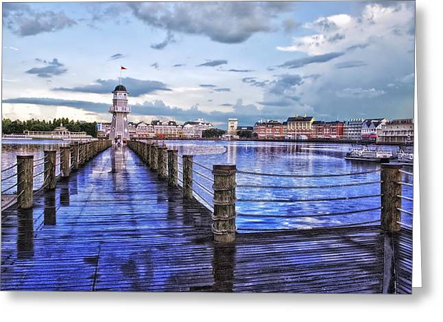 Wdw Greeting Cards - Yacht and Beach Club Lighthouse Greeting Card by Thomas Woolworth