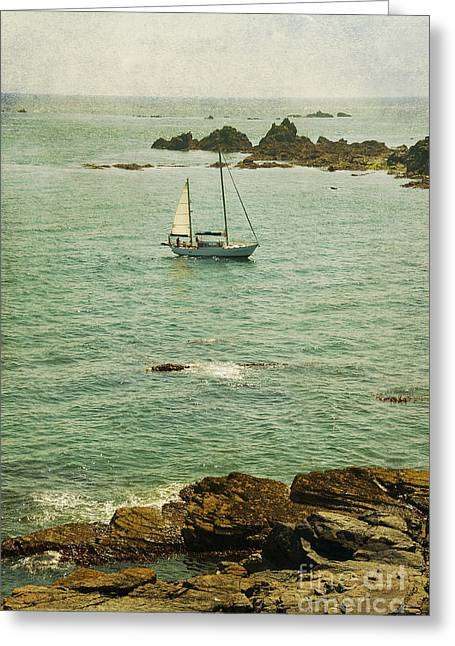 Yacht At Sea  Greeting Card by Svetlana Sewell