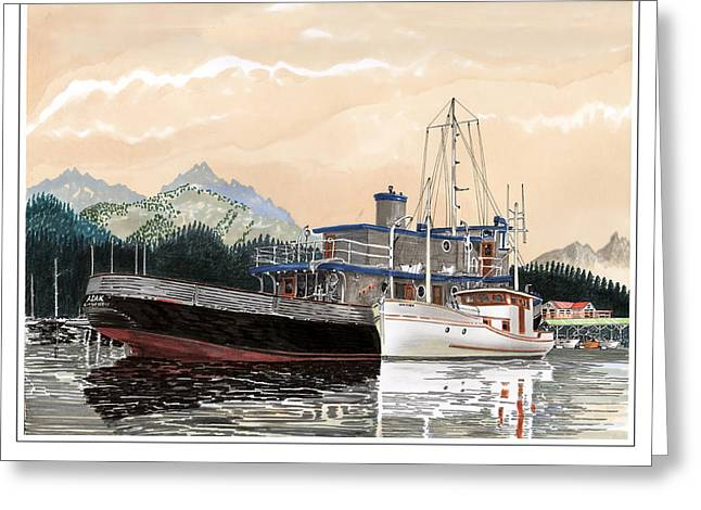 Prints Of Alaska Greeting Cards - Yacht Charlie B rafted to Adak Greeting Card by Jack Pumphrey