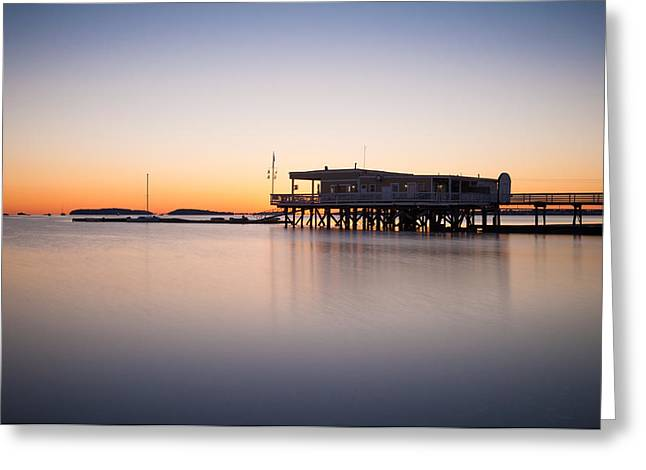 Lee Costa Greeting Cards - Yacht club at sunrise Greeting Card by Lee Costa