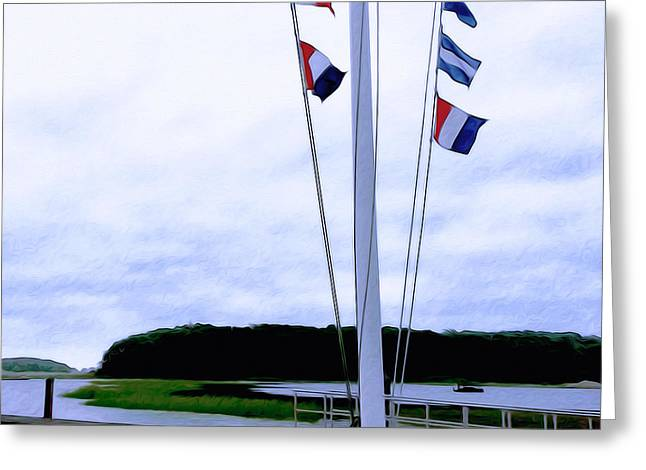 Cohasset Greeting Cards - Yacht Club Greeting Card by Carol Sutherland