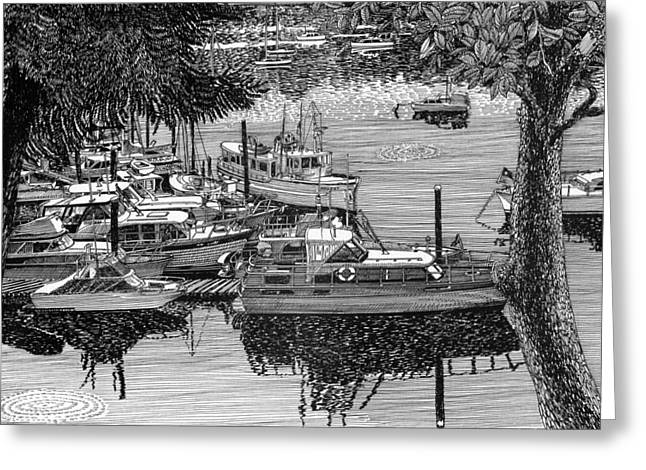Pen And Ink Framed Prints Greeting Cards - Port Orchard Yacht Club Cruise to Vashon Island Greeting Card by Jack Pumphrey