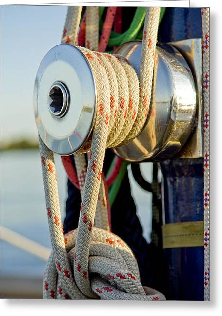 Pull Cord Greeting Cards - Yacht detail - block Greeting Card by Raimond Klavins