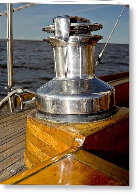 Pull Cord Greeting Cards - Yacht detail - winch Greeting Card by Raimond Klavins