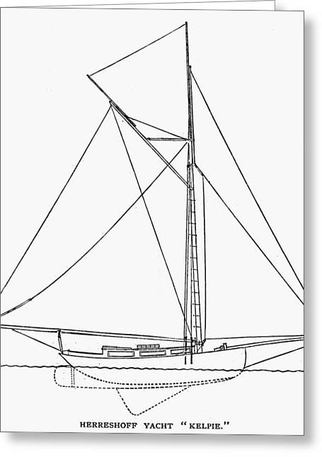 Kelpie Photographs Greeting Cards - Yacht: Kelpie, 1882 Greeting Card by Granger