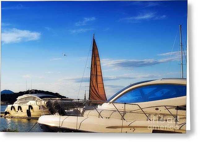 Blue Sailboats Photographs Greeting Cards - Yacht marina Greeting Card by Sinisa Botas