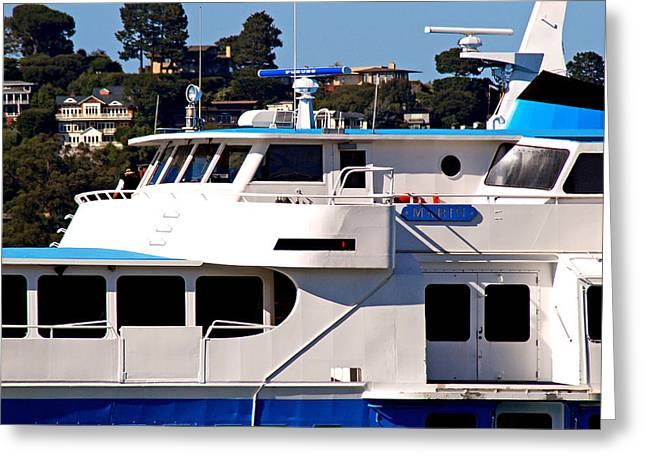 Sausalito Digital Art Greeting Cards - Yacht On Ocean Sausalito California Greeting Card by DeAnna Denise Adams
