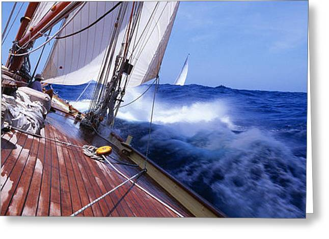 Blue Sailboat Greeting Cards - Yacht Race Greeting Card by Panoramic Images