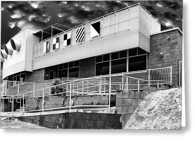 Diagonal Lines Greeting Cards - YACHT ROCK BW North Shore Yacht Club Salton Sea Greeting Card by William Dey
