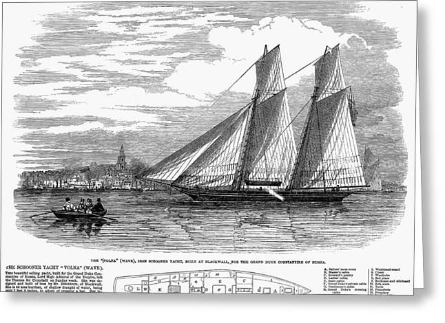 Schooner Greeting Cards - Yachting, 1848 Greeting Card by Granger