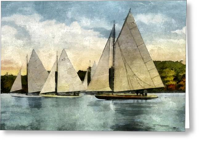Blue Sailboat Greeting Cards - Yachting in Saugatuck Greeting Card by Michelle Calkins