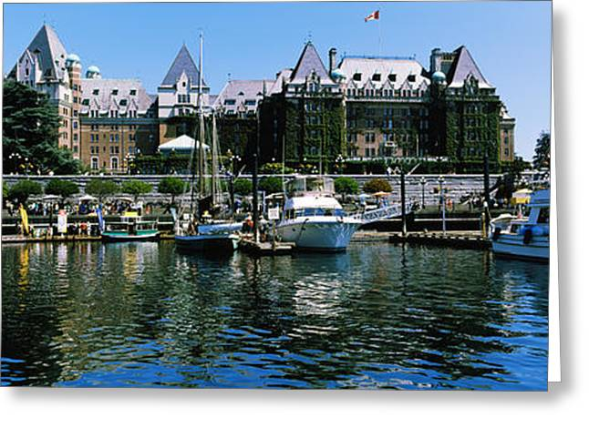 British Columbia Greeting Cards - Yachts At Marina, Brentwood College Greeting Card by Panoramic Images