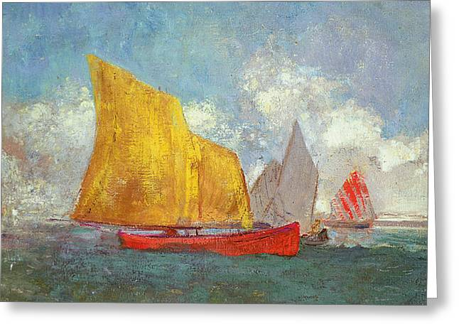 Sailboats In Harbor Greeting Cards - Yachts in a Bay Greeting Card by Odilon Redon