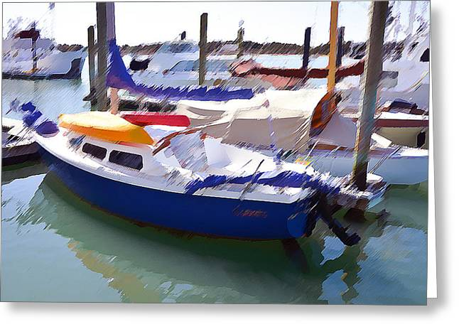 Blue Sailboats Greeting Cards - Yachts in a port 5 Greeting Card by Lanjee Chee