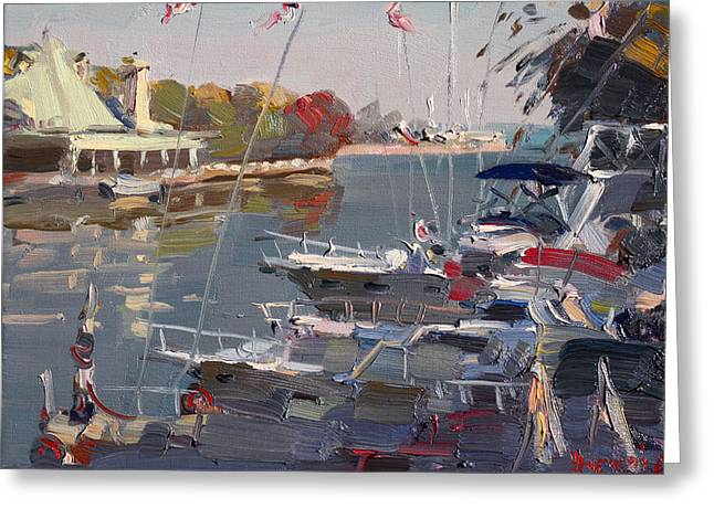 Autumn Landscape Paintings Greeting Cards - Yachts in Port Credit  Greeting Card by Ylli Haruni