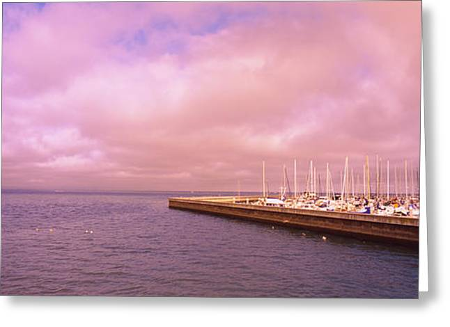 Water Vessels Greeting Cards - Yachts Moored At A Harbor, San Greeting Card by Panoramic Images