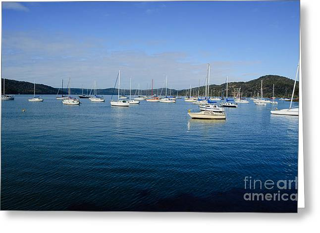 Sailboats At The Dock Greeting Cards - Yachts moored in a quiet estuary.  Greeting Card by David Hill