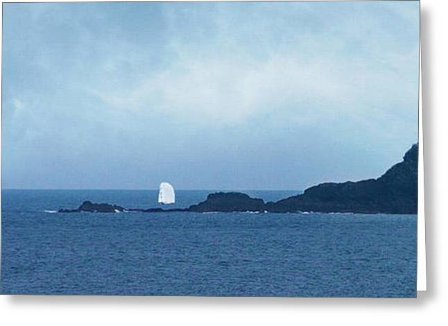 Cape Cornwall Greeting Cards - Yachts racing around the Brissons Greeting Card by Terri  Waters