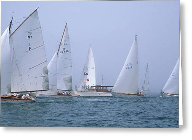 Water Vessels Greeting Cards - Yachts Racing In The Ocean, Annual Greeting Card by Panoramic Images
