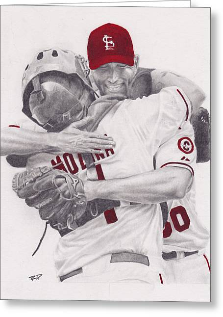 Player Drawings Greeting Cards - Yadi and Waino Greeting Card by Robert Douglas
