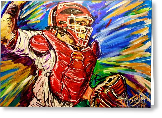 Baseball Paintings Greeting Cards - Yadi Throws to Second Greeting Card by Ian Sikes