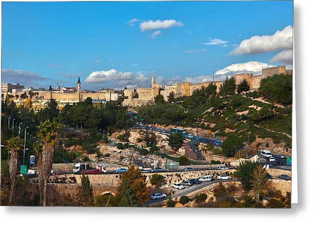 Yafo Greeting Cards - Yafo Gate Old City Jerusalem Greeting Card by Adam  Ingalls