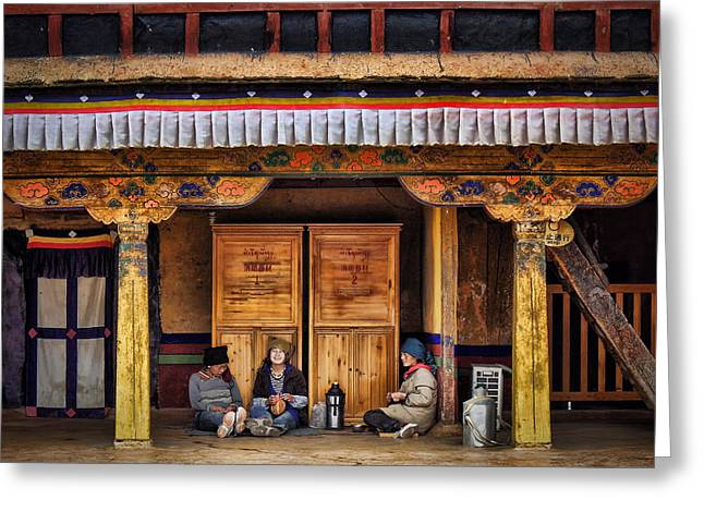 Yak Greeting Cards - Yak Butter Tea Break at the Potala Palace Greeting Card by Joan Carroll