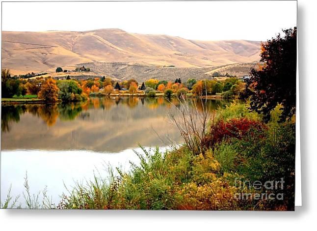 Yakima River Autumn Greeting Card by Carol Groenen