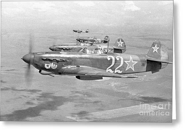 Yak Photographs Greeting Cards - Yakovlev Yak-9 Fighters, 1942 Greeting Card by Ria Novosti