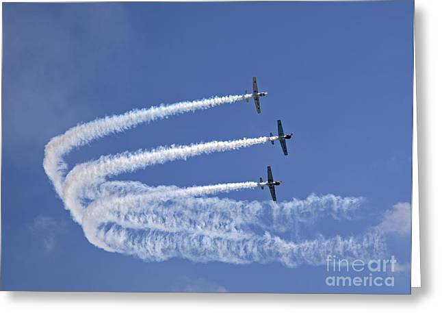 White Wing Greeting Cards - Yaks aerobatics team Greeting Card by Jane Rix