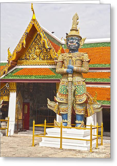 Bangkok Greeting Cards - Yaksha Figure Wat Phra Kaew                   Greeting Card by Colin and Linda McKie