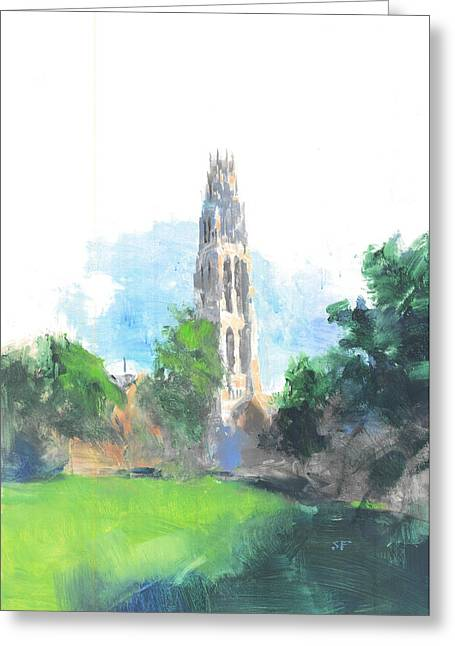 League Paintings Greeting Cards - Yale Harkness Tower Greeting Card by Stan Fellows